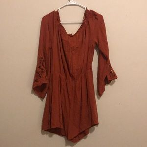 fall romper burnt orange